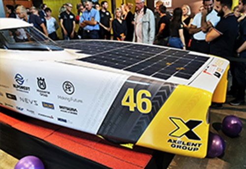 The Axelent solar car saw the light of day at the unveiling event